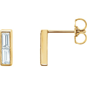 Side View 14 Karat Yellow Gold Diamond Baguette Earrings