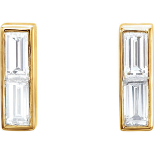 14 Karat Yellow Gold Diamond Baguette Earrings
