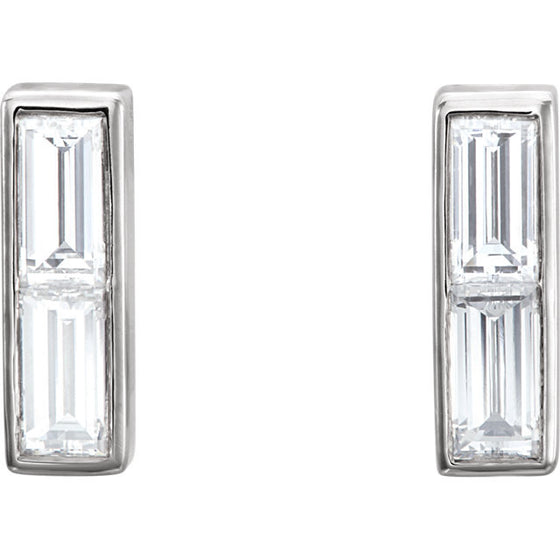 14 Karat White Gold Diamond Baguette Earrings
