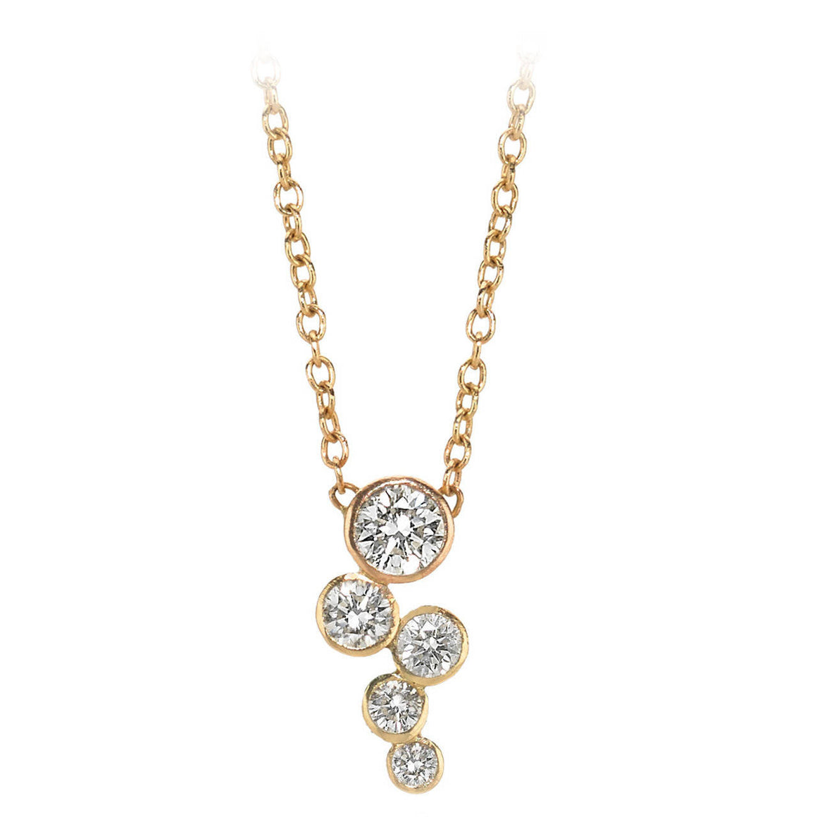 18 Karat Yellow Gold Diamond Cascade Necklace