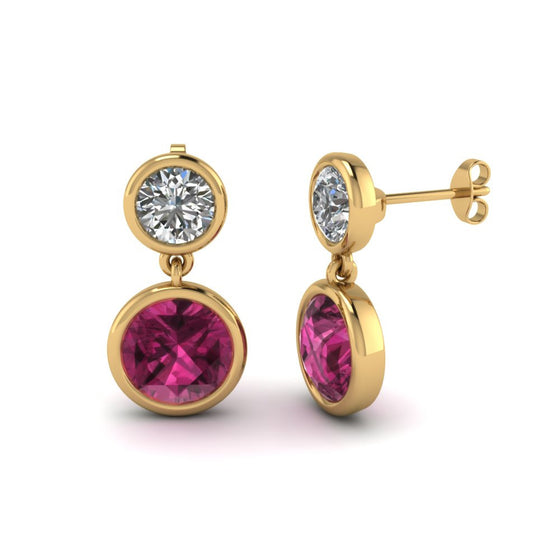 18 Karat Yellow Gold Pink Sapphire and Diamond Drop Earrings