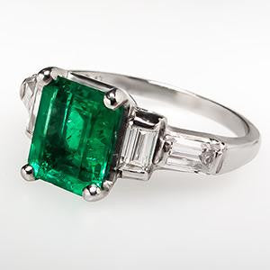Platinum Emerald and Diamond Baguette Engagement Ring