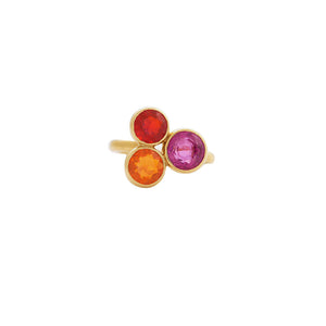 18 Karat Yellow Gold Fire Opal and Rubellite Ring
