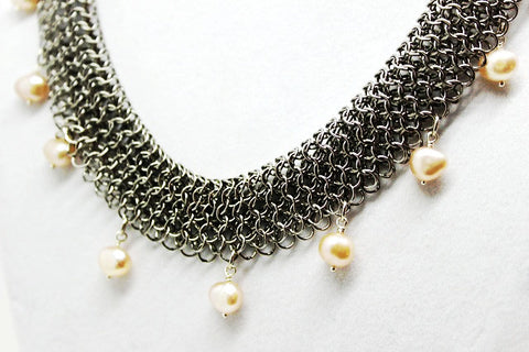 Stainless Steel Rolled Chain Mail Necklace with Pink Pearls