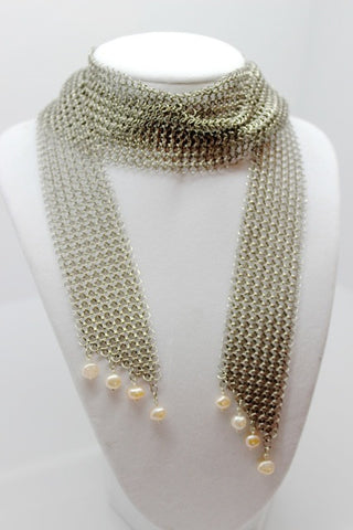 Stainless Steel Short Chain Mail Necklace/Scarf with Pink Freshwater Pearls