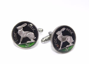 Enameled Irish Threepence Coin Cuff Links