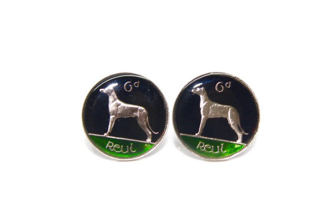 Enameled Irish Six Pence Coin Cuff Links