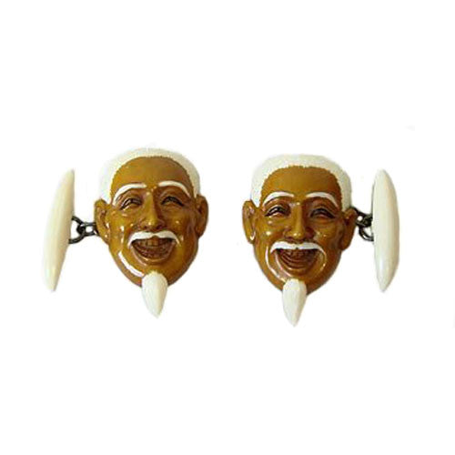 Carved Japanese Ivory Cufflinks