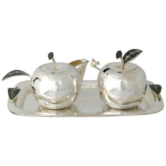 Los Castillo Silverplate Apple Sugar and Creamer Set