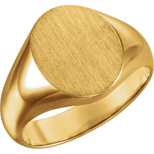 Men's 18 Karat Yellow Gold Oval Signet Ring