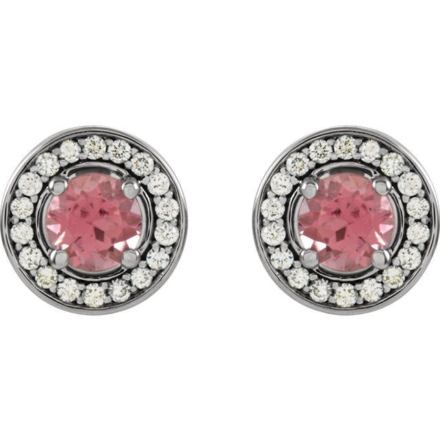 14 Karat White Gold Pink Tourmaline and Diamond Halo Style Earrings