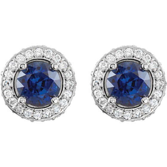 14 Karat White Gold Sapphire and Diamond Earrings