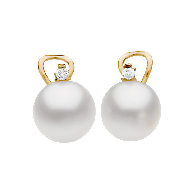 18 Karat Yellow Gold 13mm South Sea Pearl and Diamond Earrings