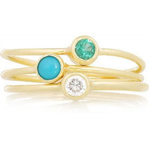 18K Emerald, Turquoise and Diamond Stackable Rings