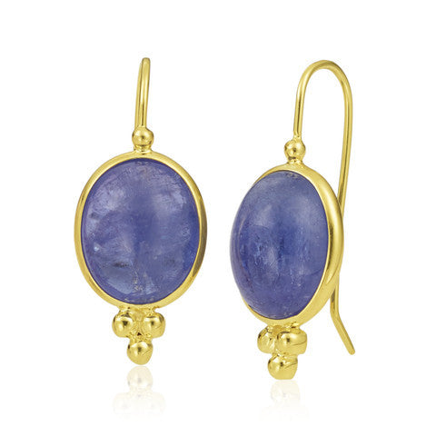 14 Karat Yellow Gold Granulated Tanzanite Earrings