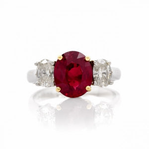 Ruby and Diamond Three Stone Gold and Platinum Engagement Ring