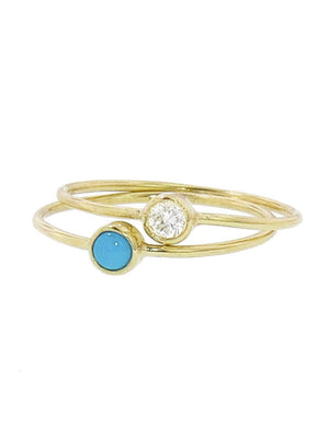 18K Turquoise and Diamond Stackable Bands