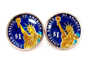Enameled U.S. $1 Dollar Coin Cuff Links