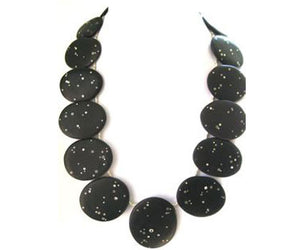 Sterling Silver Starry Night Beach Stone Necklace