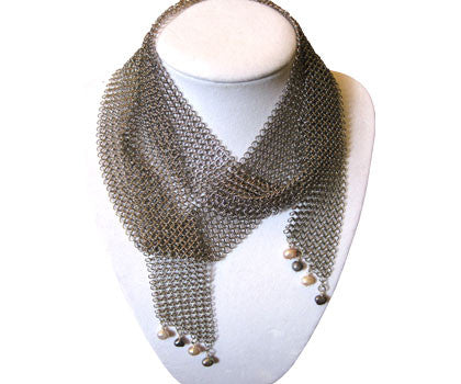 Stainless Steel Chain Mail Necklace with Pink and Grey Pearls