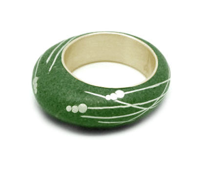 Sterling Silver Green Beach Stone Ring