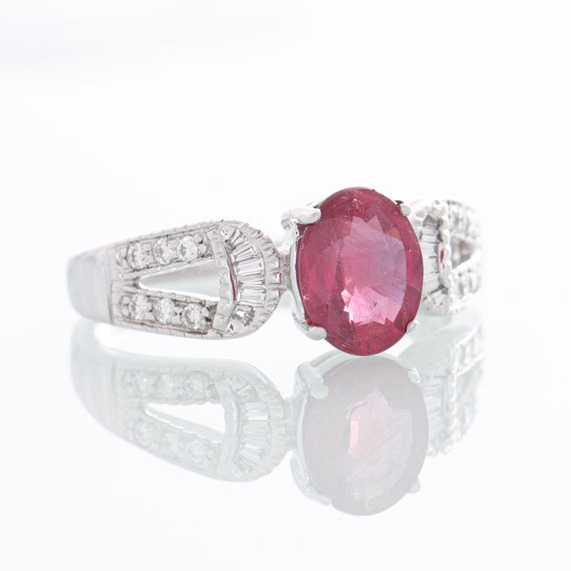 Adelia Ruby diamond ring in white gold.
