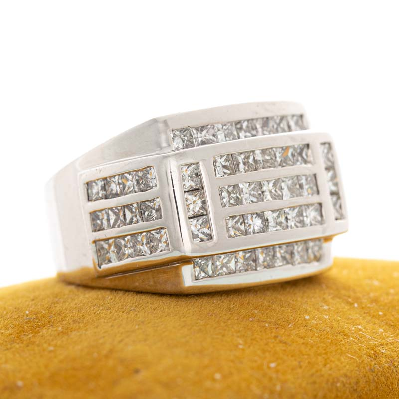 Stacks invisible set diamond band in 14k white gold.