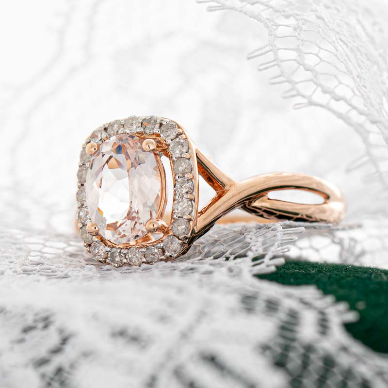 Bellini pink morganite ring with diamond halo in 14k rose gold.