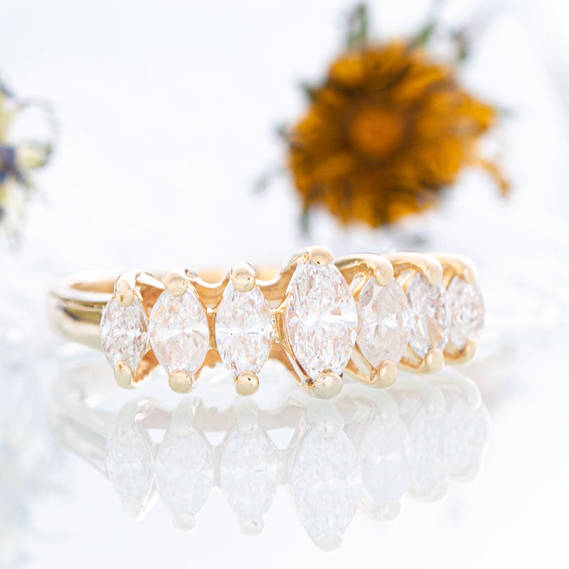 Crown of Marquise diamond ring in 14k yellow gold.