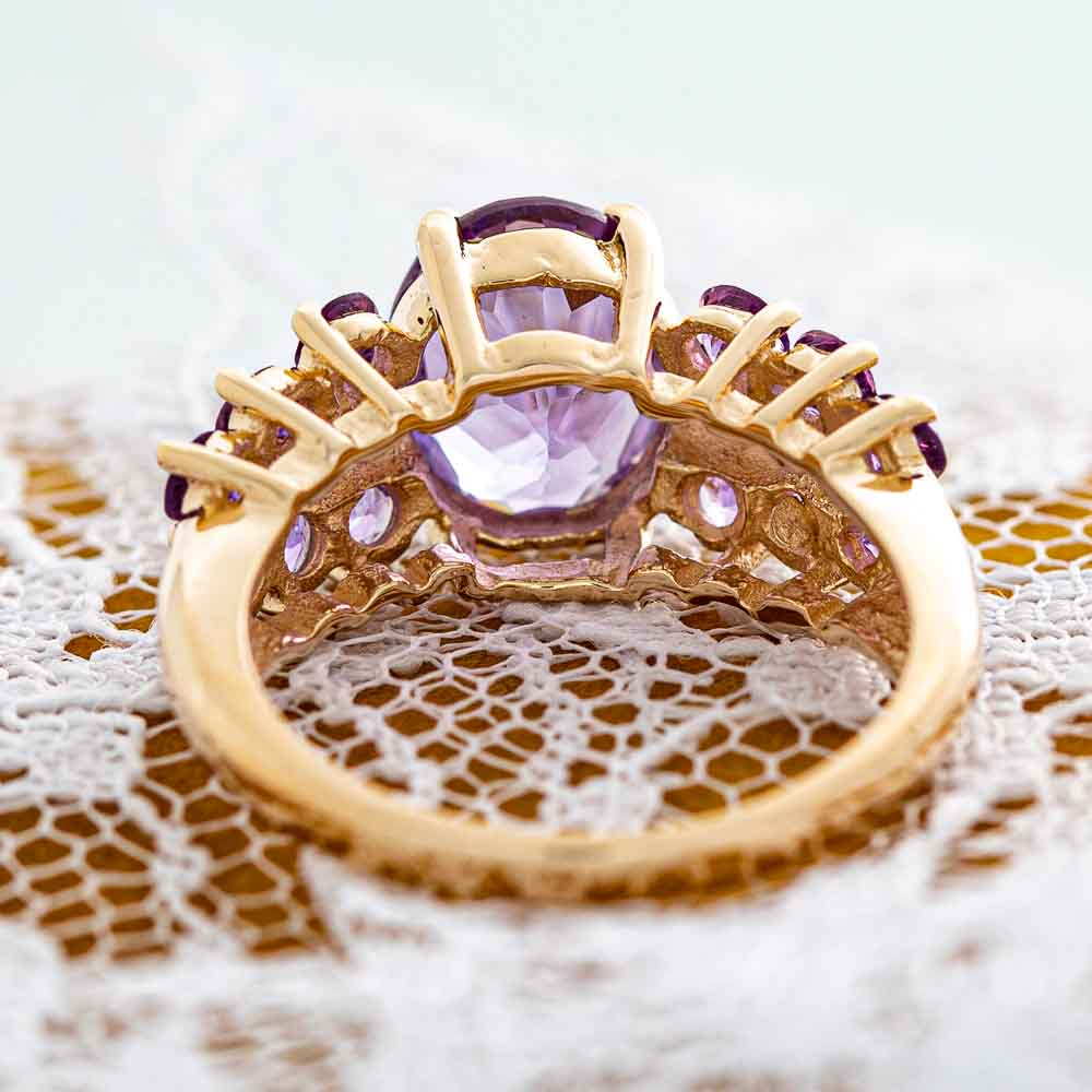Isabelle amethyst ring in 10k gold.