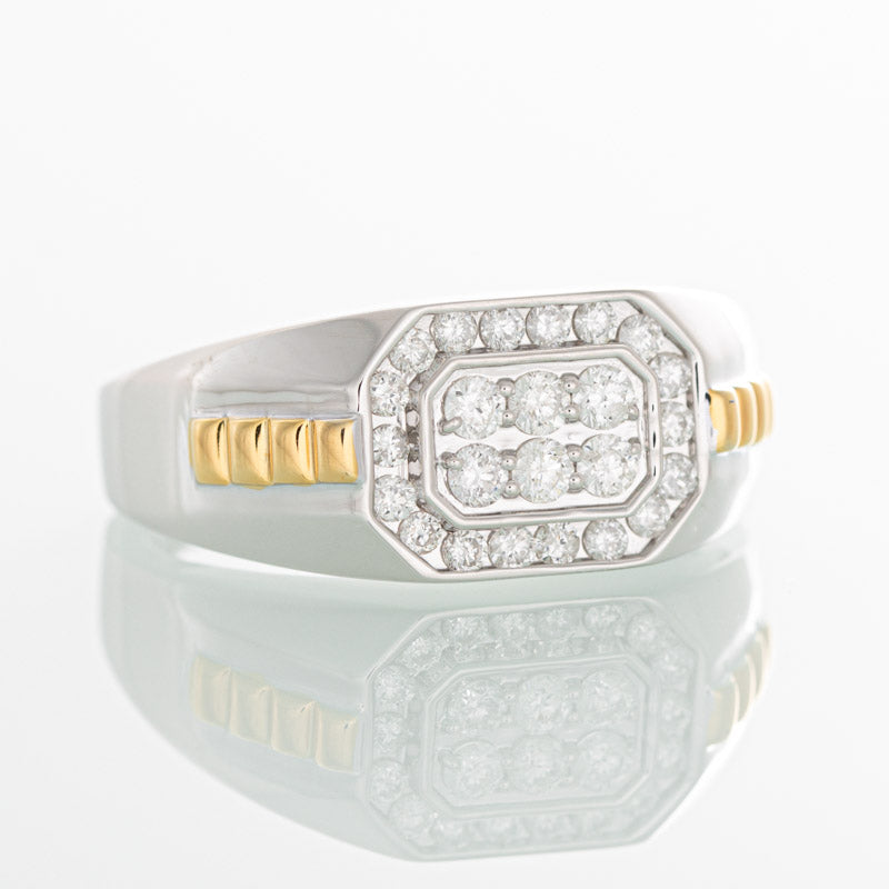 Two tone Rolex style diamond ring in 10k white and yellow gold.