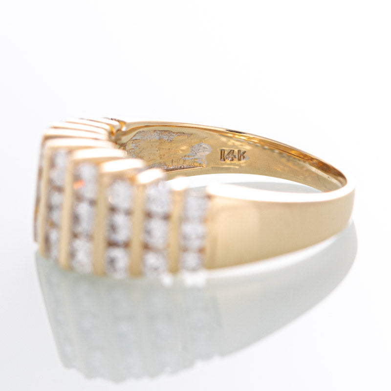 Olympia diamond cocktail ring in 14k yellow gold.