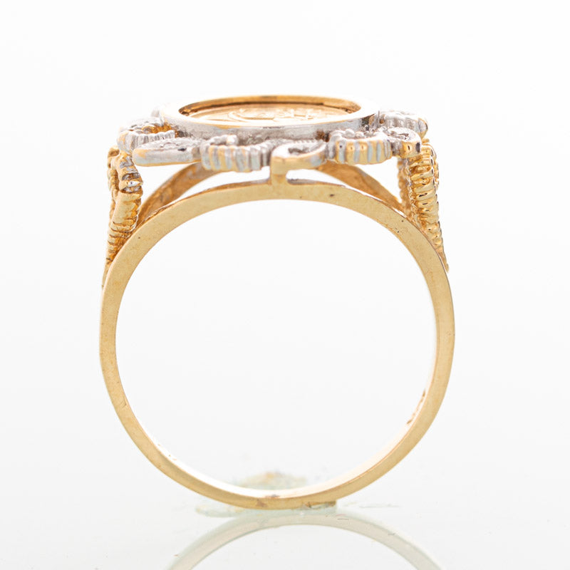 Panda Coin diamond ring in 10k yellow gold.
