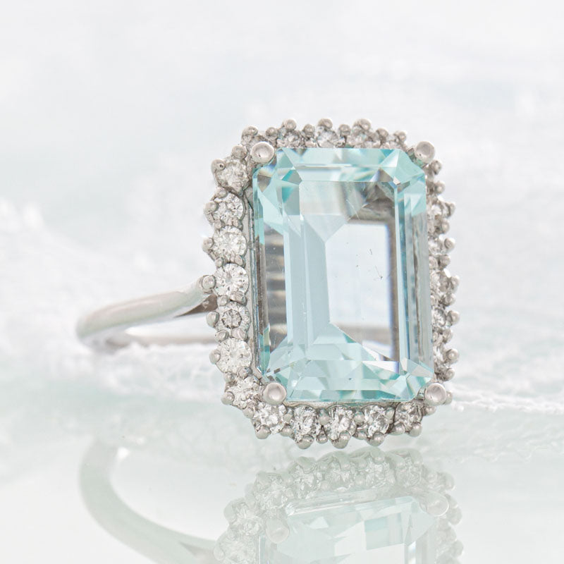 Tiffany Aquamarine ring with diamonds in 14k white gold.