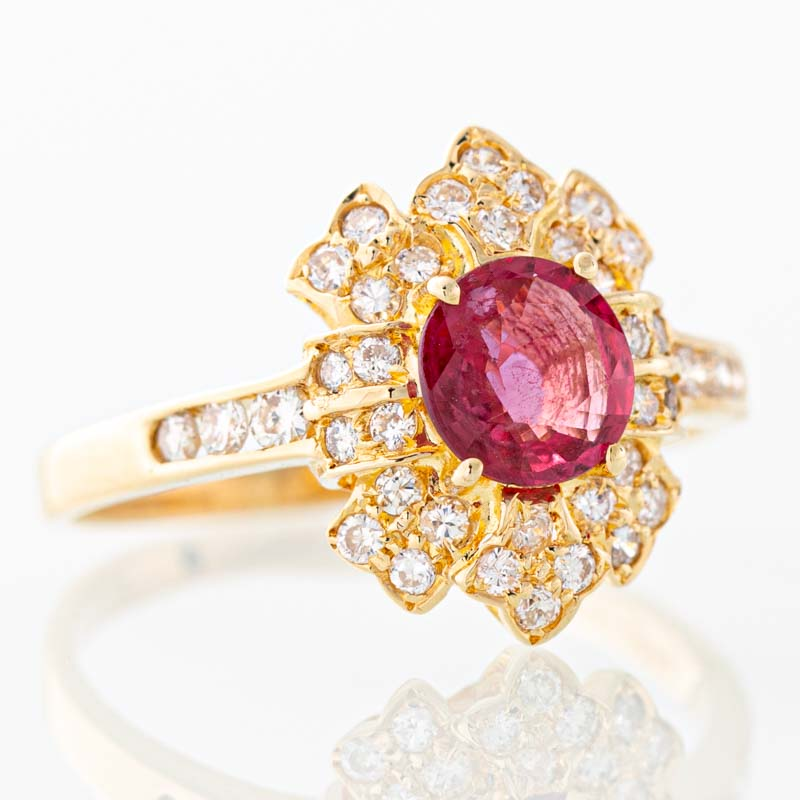 Red Hot Moon ruby and diamond ring in 18k yellow gold.