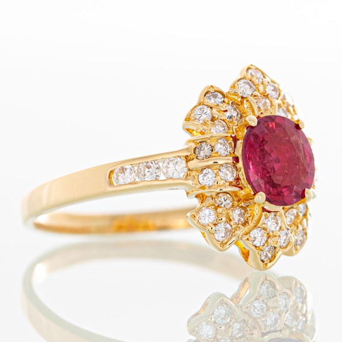 Red Hot Moon ruby and diamond ring in 18k gold.