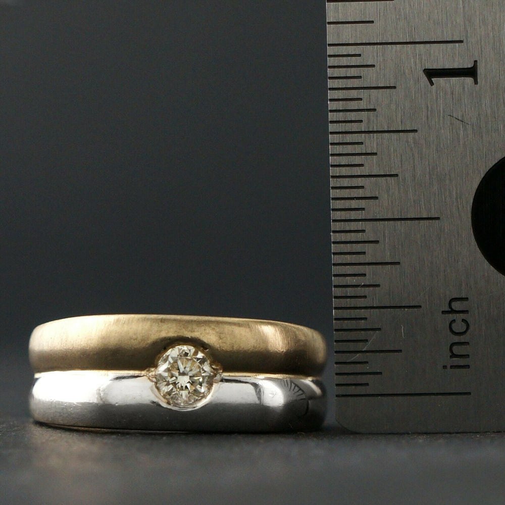 Solid 14K Two Tone Gold & .30 Ct. Diamond Gentleman's Estate Wedding Band