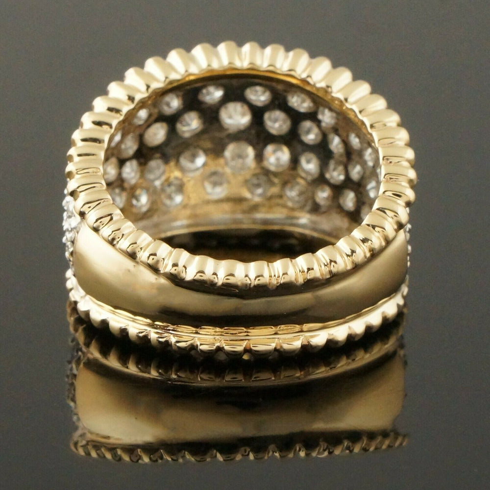 Two Tone Solid 14K Gold & 2.50 CTW Diamond, Estate Dome Ring