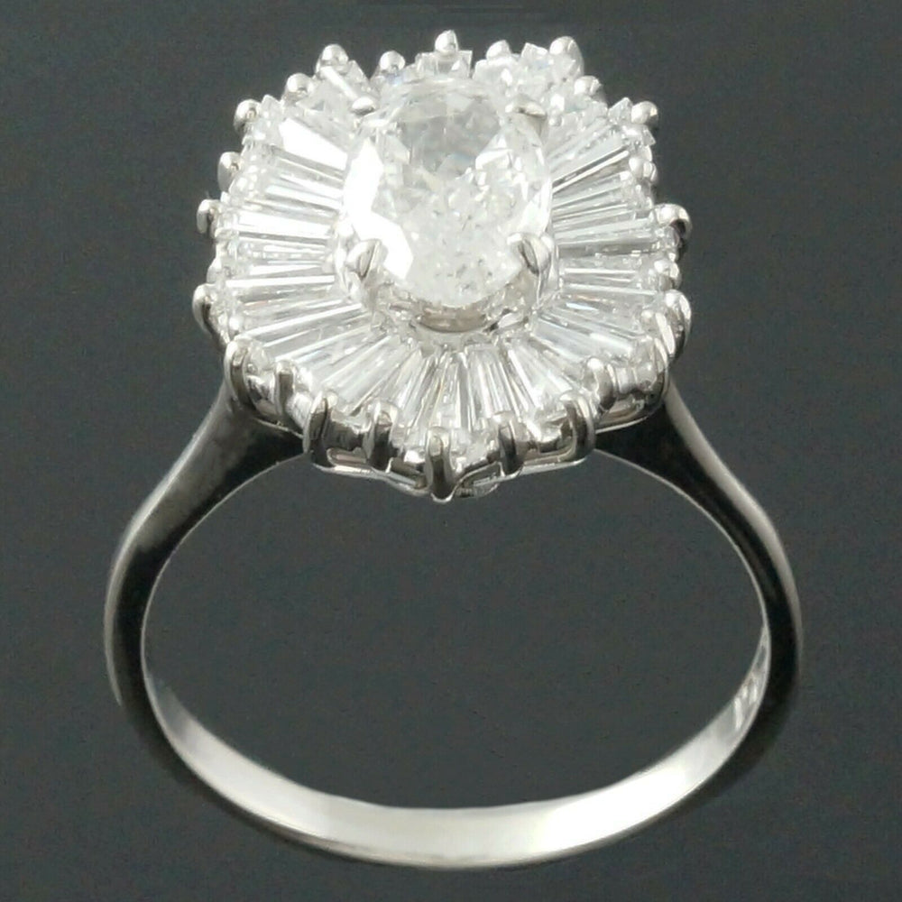 Solid 14K White Gold, 1.26 Ct Center, 2.1 CTW E/F Diamond Estate Engagement Ring