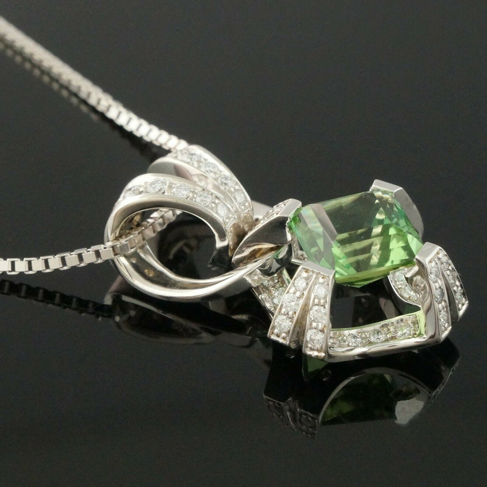 Solid 14K White Gold, 3.8 Ct Tourmaline & .47 CTW Diamond Pendant 15.5 Necklace Olde Towne Jewelers Santa Rosa CA5