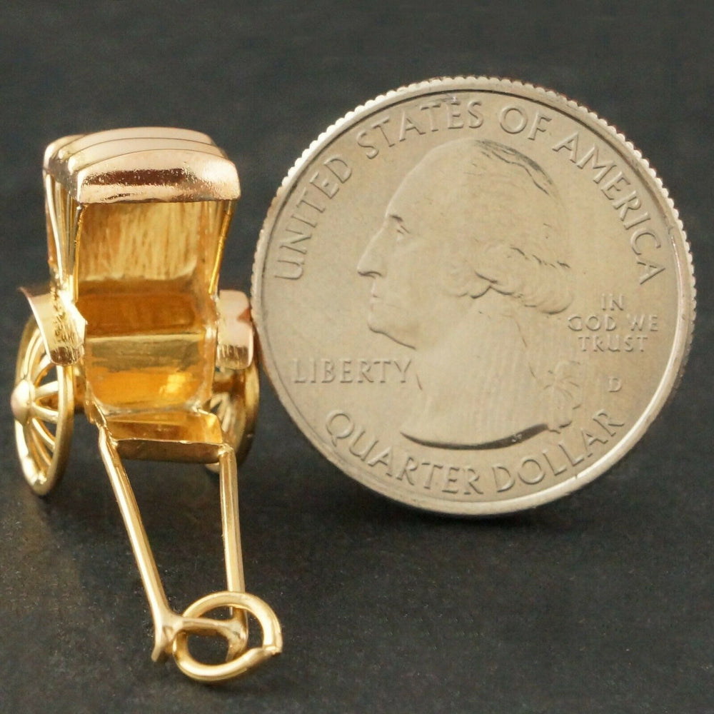 Rickshaw Estate Charm - Large Realistic Solid 14K Yellow Gold, 3D Rickshaw, Estate Charm, Pendant