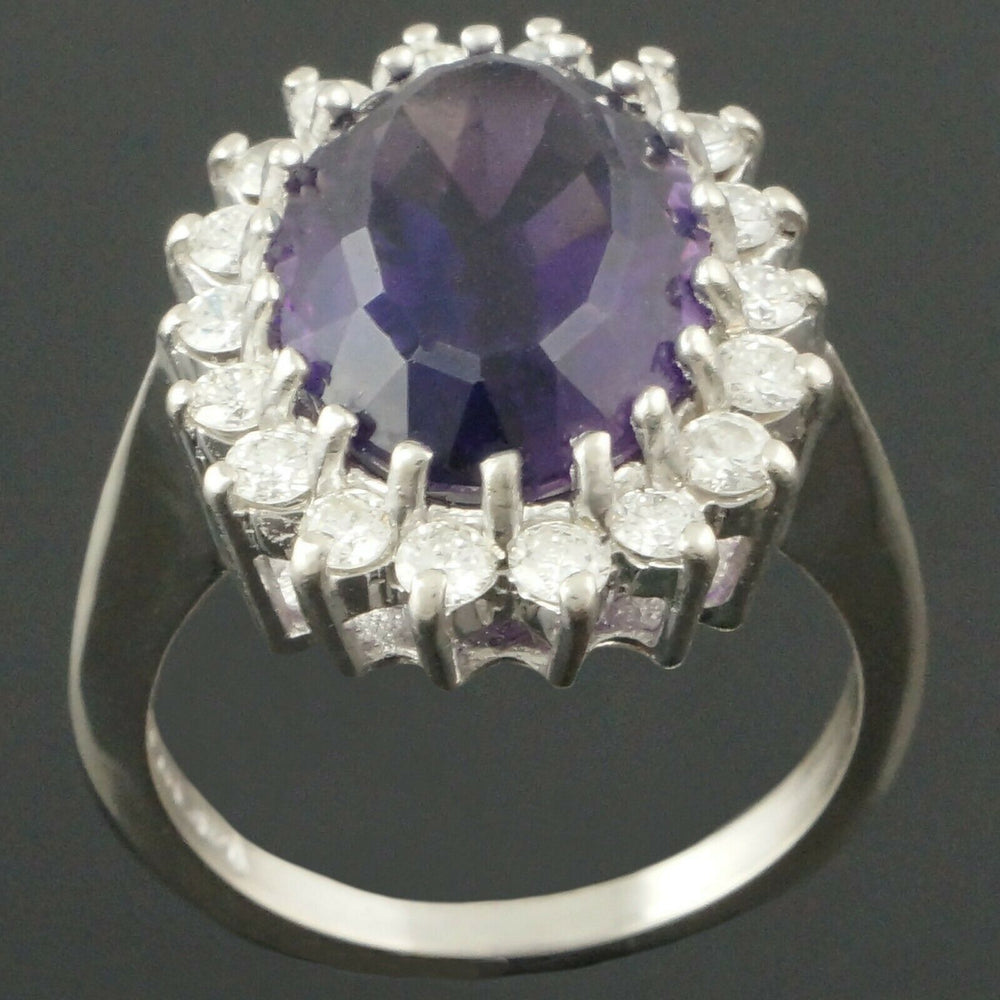 14K White Gold Diamond Estate Halo Ring - 6.6 Ct Amethyst & .72 Cttw Diamond