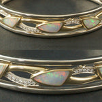 Bagley & Hotchkiss 14K White Gold Opal & Diamond Hinged Filigree Bangle Bracelet