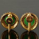 Solid 14K Yellow Gold & Apple Jade, Brushed Finish Screw Back Estate Earrings