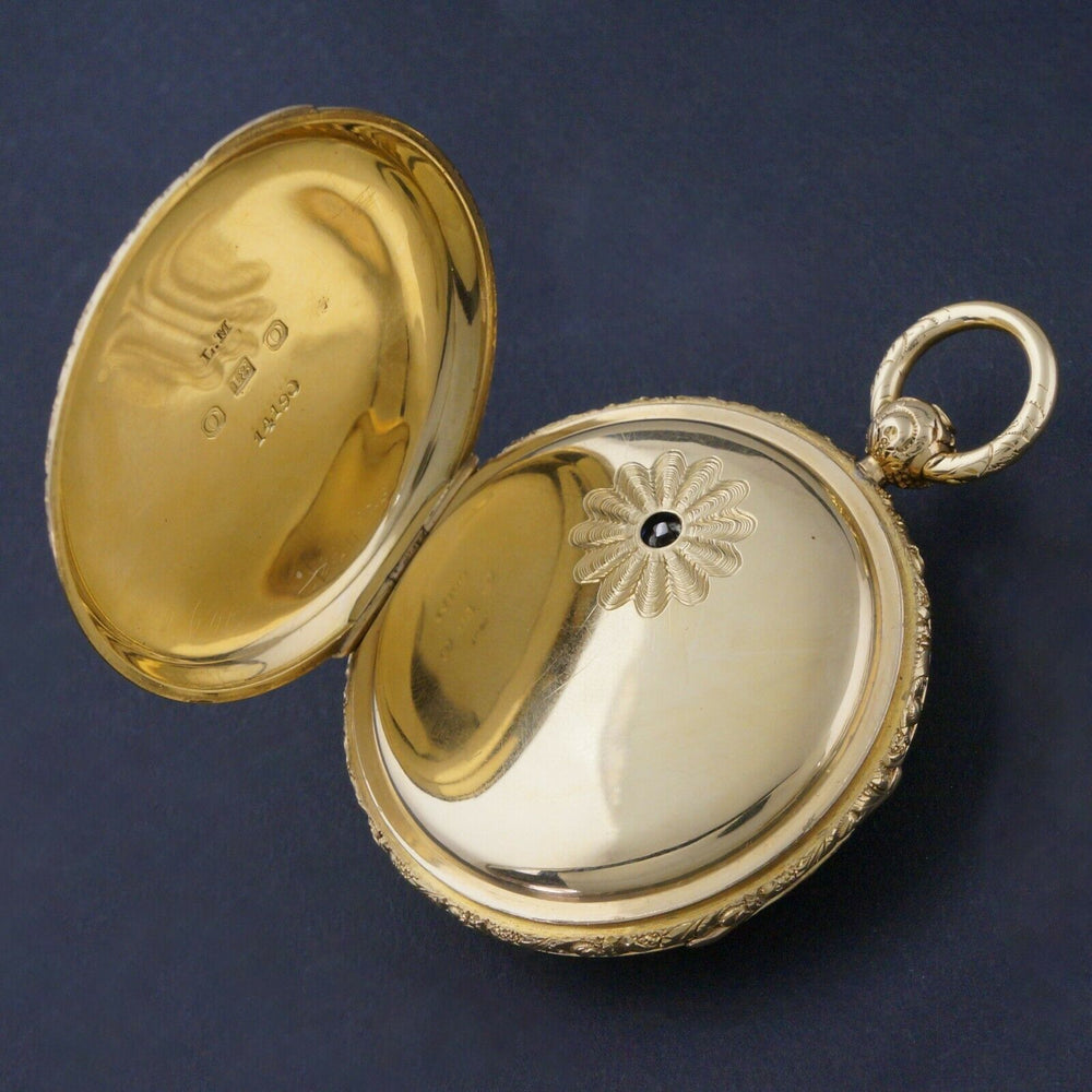 1860s M.I. Tobias Liverpool 18K Gold Key Wind Pocket Watch, Amazing Mint