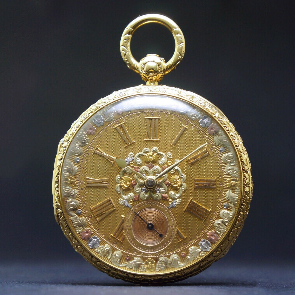 1860s M.I. Tobias Liverpool 18K Gold Key Wind Pocket Watch, Amazing Mint Condition