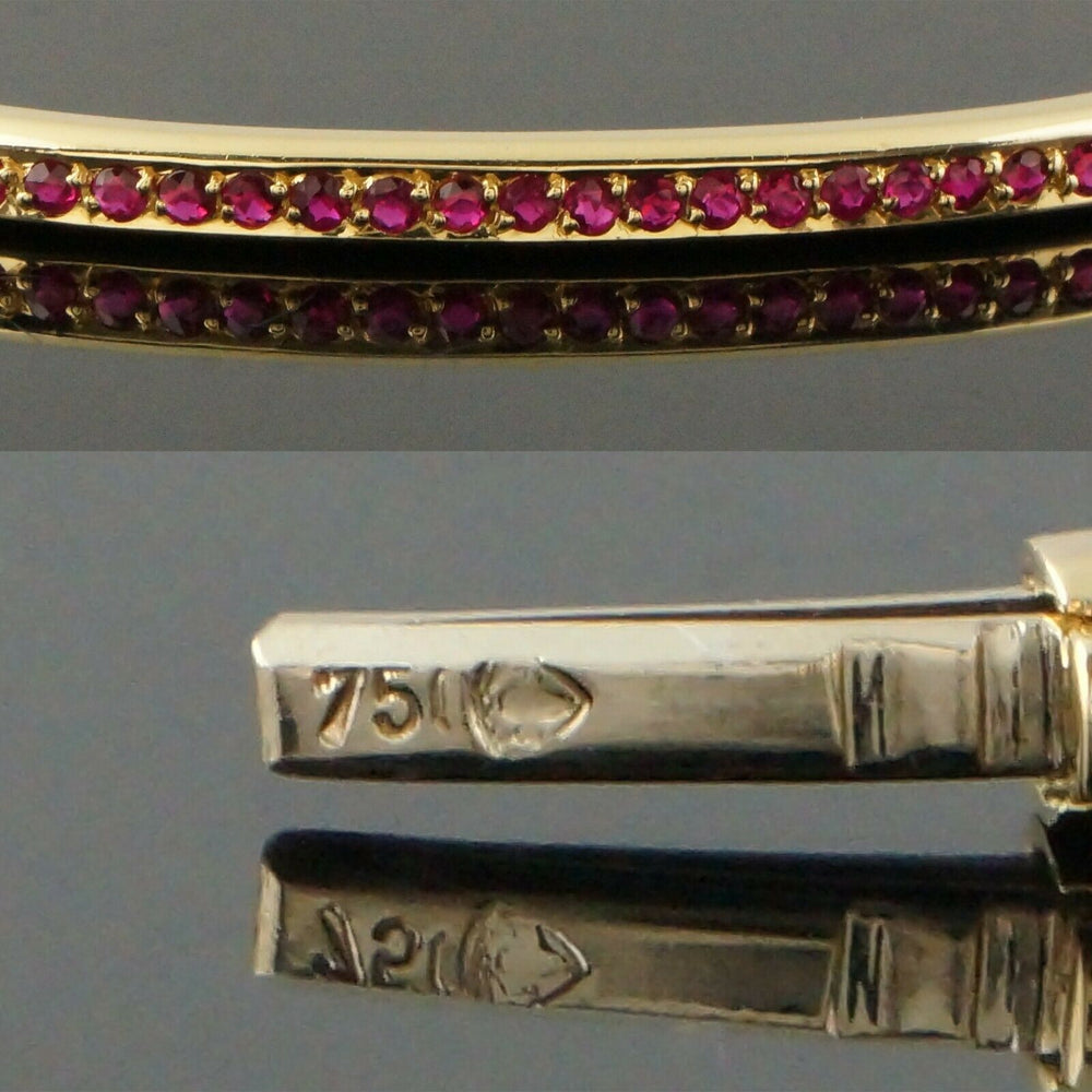 Solid 18K Yellow Gold & .63 CTTW Ruby, Hinged Estate Bangle Bracelet