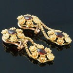Solid 18K Yellow Gold & 1.80 CTW Garnet Floral Motif Drop Dangle Earrings Olde Towne Jewelers Santa Rosa CA2
