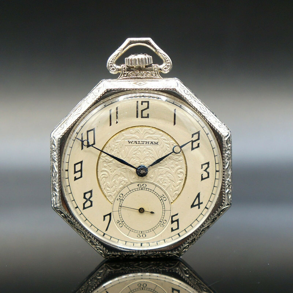 Waltham Pocket Watch 1925 14K White Gold Art Deco