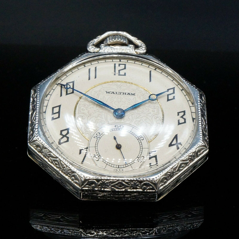 Waltham Pocket Watch 1925 14K White Gold Art Deco Octagonal
